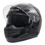 HAWK Glossy-Black Dual-Visor Motorcycle Helmet AP-990