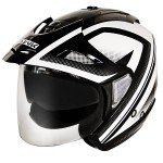 Hawk Night Relfective Dual Visor Open Face Black and White Motorcycle Helmet T-388