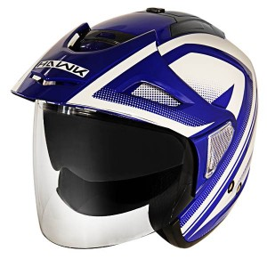 Hawk Night Relfective Dual Visor Open Face Blue and White Motorcycle Helmet-t-388