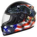 Hawk ST-1150 Glossy Dual-Visor Full-Face Motorcycle Helmet with U.S. Flag-and-Eagle Graphics