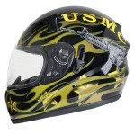Hawk ST-1150 Glossy Dual-Visor Full-Face Motorcycle Helmet with U.S. Marines Graphics