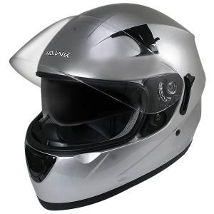 Hawk ST-1150 Glossy Metallic-Silver Dual-Visor Full-Face Motorcycle Helmet
