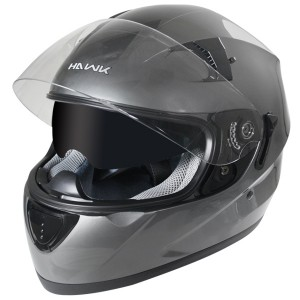 Hawk ST-1150 Gun Metal Dual-Visor Full-Face Motorcycle Helmet