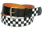 Black and White Pyramid Studded Leather Belt BT249PYKW
