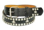 Skull & Crossbones Pyramid Stud Trim Leather Belt BT700PYSK