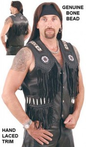 Black Western Leather Vest with Indian Beading VM2570DBK