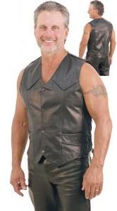 Braid Trim Side Lace Leather Vest VM101BK