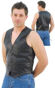 Classic Mens Leather Vest with Side Lace and One Piece Back VM307LK