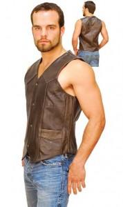 Dark Brown Leather Vest for Men VM402RN