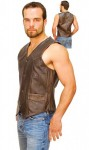 Dark Brown Leather Vest for Men VM402RN