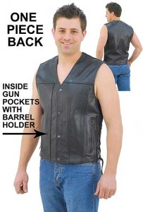 Double Gun Pocket Side Lace Leather Vest for Men VM2611GUN