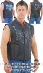First Racing Reflector Skull Leather Vest VM655SKNK