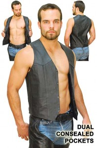 Gun Pocket Leather Vest - Special VM0707GSP