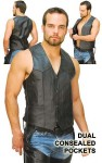 Gun Pocket Side Lace Leather Vest-Special VM0708LGSP