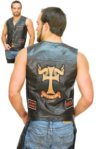 Jesus Patch Leather Vest with 6 Orange Patches VM0621JCO