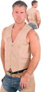 Light Brown Leather Vest VM608N
