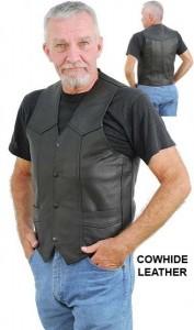 Mens Classic Black Leather Motorcycle Vest VM400SP