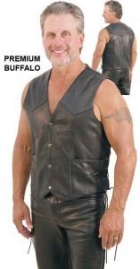 Mens Leather Vest with Side Lacing VM803LK