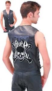 Skull Patch Leather Biker Vest VM908SK