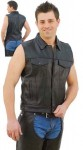 Sleeveless Jean Jacket Style Leather Vest VM1331