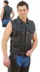 Sleeveless Jean Jacket Style Leather Vest VM1331
