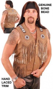 Western Brown Leather Vest with Indian Beading VM2570BDN