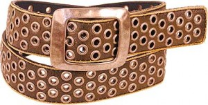 Antiqued Grommet Belt W/hammered Buckle BT4047K