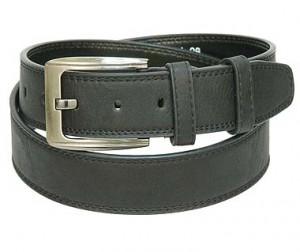 Black Buffalo Grain Leather Belt w/Double Keeper BT033K