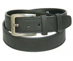 Black Buffalo Grain Leather Belt w/Double Keeper BT033K