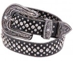 Black Leather & Rhinestone Western Belt BT1658RSK