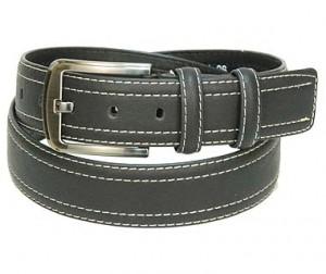 Black Leather Belt w/White Double Edge Stitching BT044WK