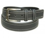 Black Leather Belt w/White Double Edge Stitching BT044WK