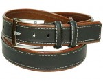 Black Leather Belt w/White Edge Stitching BT049KN