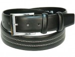 Black Leather Belt w/White Edge Stitching BT050WK