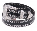 Black Leather Belt with Crystal Rhinestone Trim BT287WK