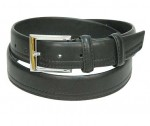 Black One Sided Stitch Leather Belt BT0019K