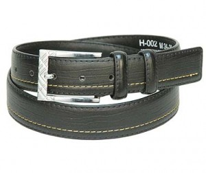 Black One Sided Stitch Leather Belt BT002NK