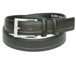 Black One Sided Stitch Leather Belt BT002NK