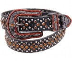 Bronze Rhinestone Western Black Leather Belt BT2931BRZ