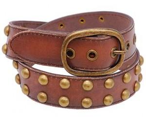 Brown Vintage Studded Leather Belt BT4030S