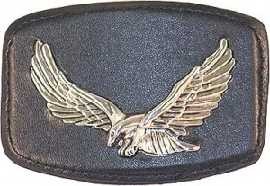 Chrome Eagle Black Leather Buckle BU395EK