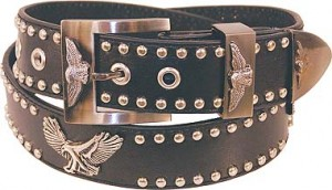 Eagle and Studs Leather Belt BT11142ES