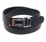 No Holes Black Leather Belt with Ratchet Buckle BT063BLK
