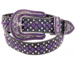 Purple Rhinestone Western Leather Belt BT2932PUR