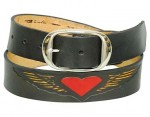 Red Winged Hearts Premium Cowhide Leather Belt BTL125WH