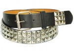 Splatter Paint Silver Pyramid Studded Leather Belt BT83PYSP