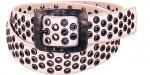 White Antiqued Grommet Belt BT4047W