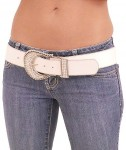 White Leather & Rhinestone Western Belt BT426RW
