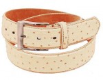 White Ostrich Leather Belt BT015_OSTW