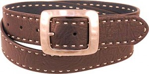 White Saddle Stitch Leather Belt BT4041